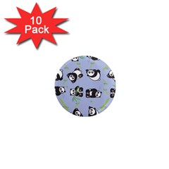 Panda Tile Cute Pattern Blue 1  Mini Magnet (10 Pack)