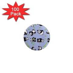 Panda Tile Cute Pattern Blue 1  Mini Magnets (100 Pack)