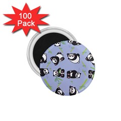Panda Tile Cute Pattern Blue 1 75  Magnets (100 Pack)