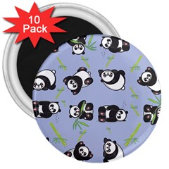 Panda Tile Cute Pattern Blue 3  Magnets (10 Pack)