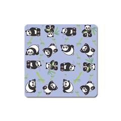 Panda Tile Cute Pattern Blue Square Magnet