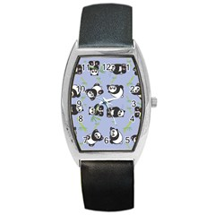 Panda Tile Cute Pattern Blue Barrel Style Metal Watch