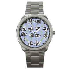 Panda Tile Cute Pattern Blue Sport Metal Watch