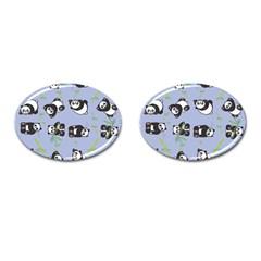 Panda Tile Cute Pattern Blue Cufflinks (oval)