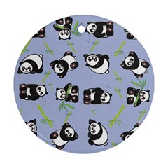 Panda Tile Cute Pattern Blue Round Ornament (two Sides)