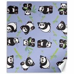 Panda Tile Cute Pattern Blue Canvas 8  X 10
