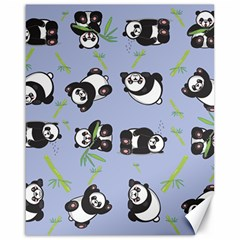 Panda Tile Cute Pattern Blue Canvas 16  x 20