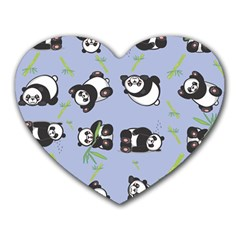 Panda Tile Cute Pattern Blue Heart Mousepads
