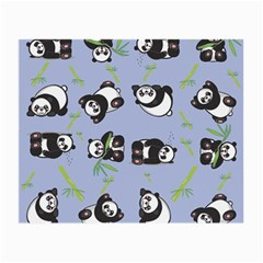 Panda Tile Cute Pattern Blue Small Glasses Cloth (2 Side)