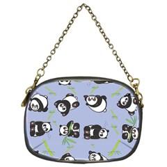 Panda Tile Cute Pattern Blue Chain Purses (one Side)