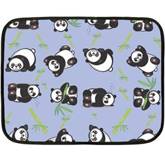 Panda Tile Cute Pattern Blue Fleece Blanket (mini)