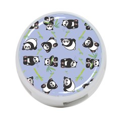 Panda Tile Cute Pattern Blue 4-Port USB Hub (Two Sides)