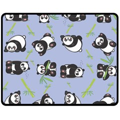 Panda Tile Cute Pattern Blue Fleece Blanket (medium)