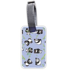 Panda Tile Cute Pattern Blue Luggage Tags (two Sides)