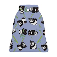 Panda Tile Cute Pattern Blue Ornament (bell)
