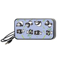 Panda Tile Cute Pattern Blue Portable Speaker (black)