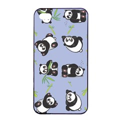Panda Tile Cute Pattern Blue Apple Iphone 4/4s Seamless Case (black)