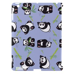 Panda Tile Cute Pattern Blue Apple Ipad 3/4 Hardshell Case (compatible With Smart Cover)