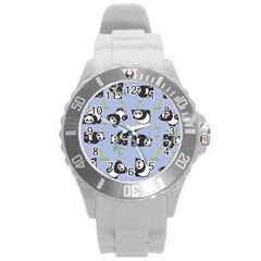 Panda Tile Cute Pattern Blue Round Plastic Sport Watch (l)