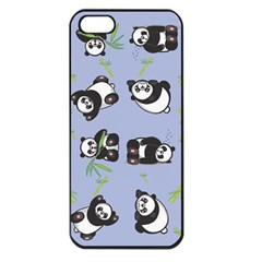 Panda Tile Cute Pattern Blue Apple Iphone 5 Seamless Case (black)
