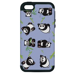 Panda Tile Cute Pattern Blue Apple Iphone 5 Hardshell Case (pc+silicone)
