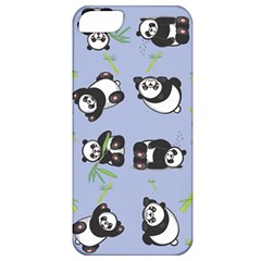 Panda Tile Cute Pattern Blue Apple Iphone 5 Classic Hardshell Case