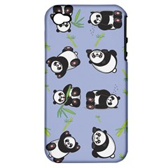 Panda Tile Cute Pattern Blue Apple Iphone 4/4s Hardshell Case (pc+silicone)