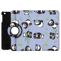 Panda Tile Cute Pattern Blue Apple Ipad Mini Flip 360 Case