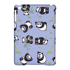 Panda Tile Cute Pattern Blue Apple iPad Mini Hardshell Case (Compatible with Smart Cover)