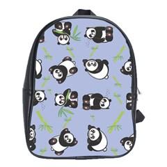 Panda Tile Cute Pattern Blue School Bags (XL)