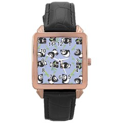 Panda Tile Cute Pattern Blue Rose Gold Leather Watch