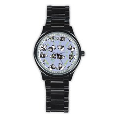 Panda Tile Cute Pattern Blue Stainless Steel Round Watch