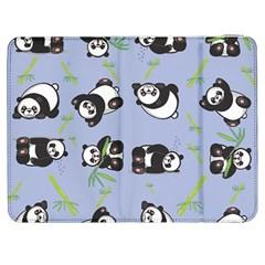 Panda Tile Cute Pattern Blue Samsung Galaxy Tab 7  P1000 Flip Case