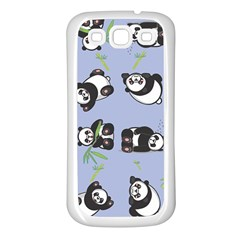 Panda Tile Cute Pattern Blue Samsung Galaxy S3 Back Case (White)
