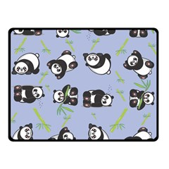 Panda Tile Cute Pattern Blue Double Sided Fleece Blanket (small)