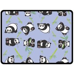 Panda Tile Cute Pattern Blue Double Sided Fleece Blanket (large)