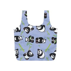 Panda Tile Cute Pattern Blue Full Print Recycle Bags (s)