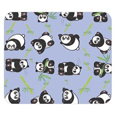 Panda Tile Cute Pattern Blue Double Sided Flano Blanket (small)