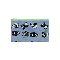 Panda Tile Cute Pattern Blue Cosmetic Bag (xs)
