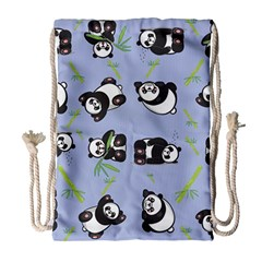 Panda Tile Cute Pattern Blue Drawstring Bag (large)