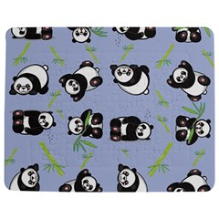 Panda Tile Cute Pattern Blue Jigsaw Puzzle Photo Stand (rectangular)