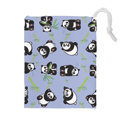 Panda Tile Cute Pattern Blue Drawstring Pouches (extra Large)
