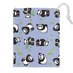 Panda Tile Cute Pattern Blue Drawstring Pouches (xxl)