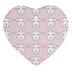 Sheep Wallpaper Pattern Pink Ornament (Heart)