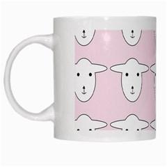 Sheep Wallpaper Pattern Pink White Mugs