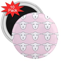 Sheep Wallpaper Pattern Pink 3  Magnets (10 pack)