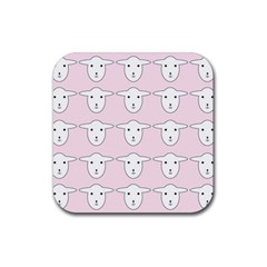 Sheep Wallpaper Pattern Pink Rubber Square Coaster (4 Pack)