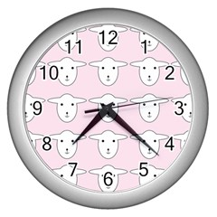 Sheep Wallpaper Pattern Pink Wall Clocks (Silver)