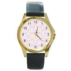 Sheep Wallpaper Pattern Pink Round Gold Metal Watch