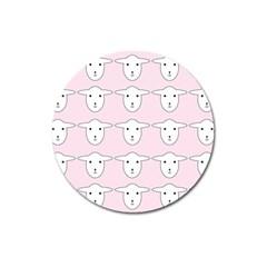 Sheep Wallpaper Pattern Pink Magnet 3  (round)